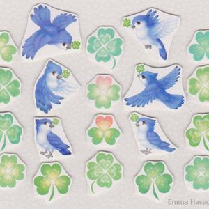 ハートクローバーと青い鳥のシール