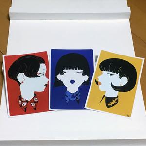襟女子 イラストカード(3枚セット)