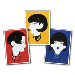 襟女子イラストカードセット/illustration card