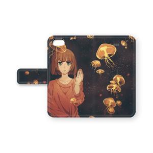 手帳型iPhoneケース(オリジナル/海月と女の子)
