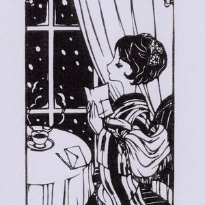 創作切り絵ポスター(A5) (窓辺にて)