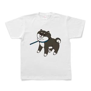 散歩から帰りたくない黒柴Tシャツ(ホワイト)
