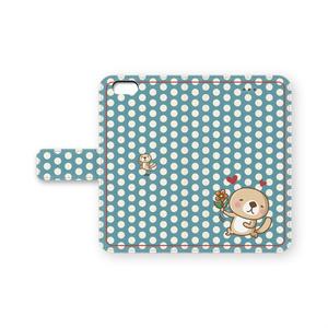 突撃!ラッコさん    惚れた♡iPhone手帳型ケース(ブルー)