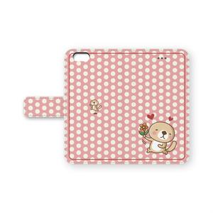 突撃!ラッコさん    惚れた♡iPhone手帳型ケース(ピンク)