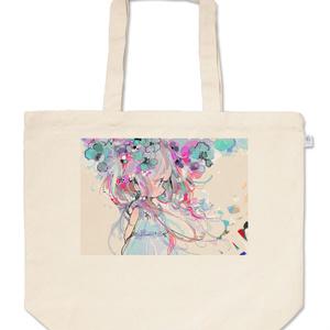 盛り花ガール(シアン)トートバッグ