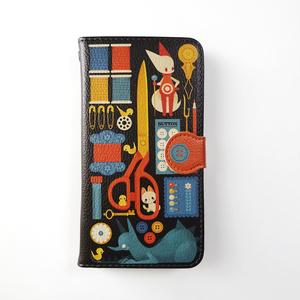 手帳型スマホケース[おさがりの裁縫箱]