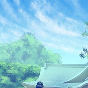 カラー背景素材 「神社・昼」