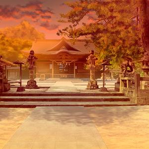 カラー背景素材 「神社・夕方」