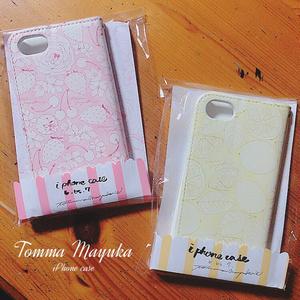 ピンク-手帳型iPhoneカバー(6/6s/7用)