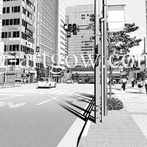 著作権フリー漫画背景素材/街なみ1/浜松町駅北口