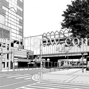 著作権フリー漫画背景素材/街なみ2/練馬駅