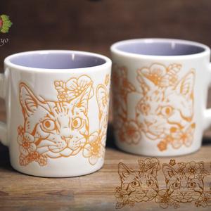 猫と花マグカップ