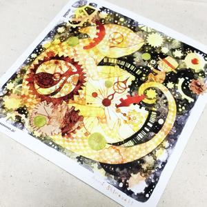 イラストカード(カメレオンとおんぼろ時計)
