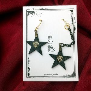 B)黒星と紋章のピアス