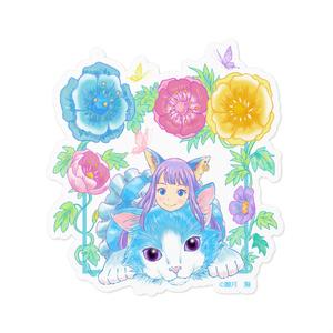 花と猫とアリス ステッカー