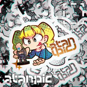 ステッカー:ミニチュアゲームで遊ぶ子ちゃん(黄)