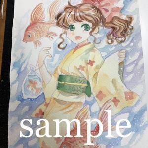 【NEW】【イラスト原画】#034 金魚と浴衣の少女