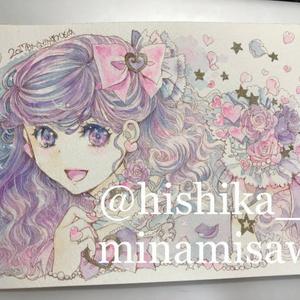 【NEW】イラスト原画#045 花束と少女