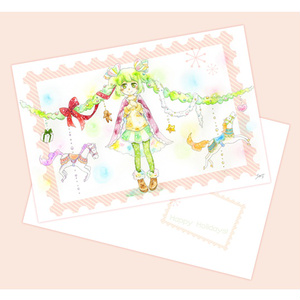 イラストカード「クリスマス×女の子」