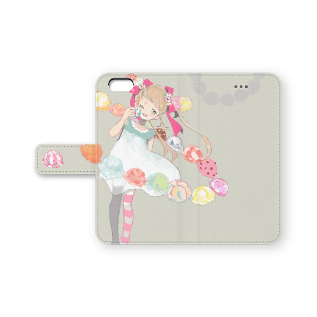 少女(アイス)手帳型iPhoneケース