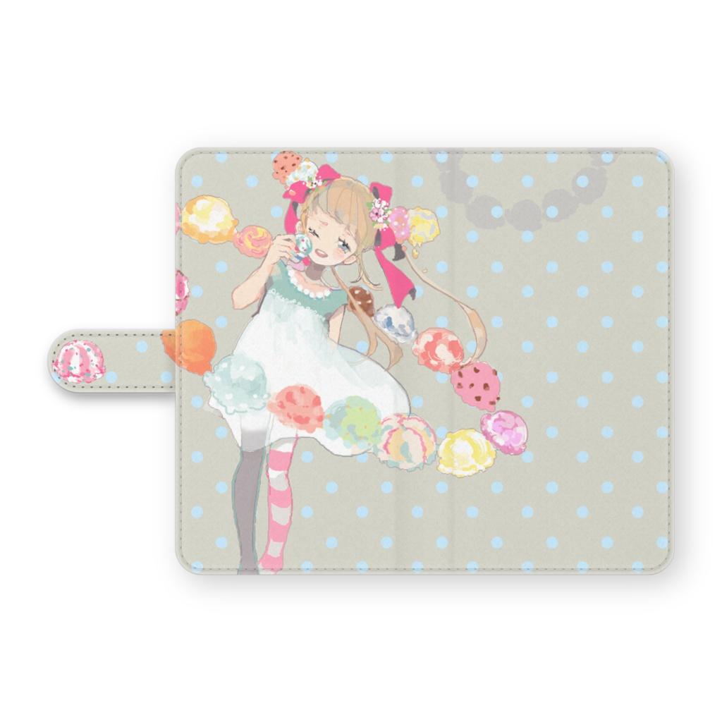 少女(アイス/ドット)手帳型Androidケース
